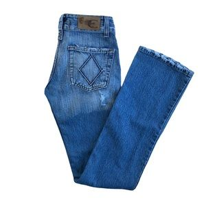 Just Cavalli Low Rise Bootcut Distressed Jeans